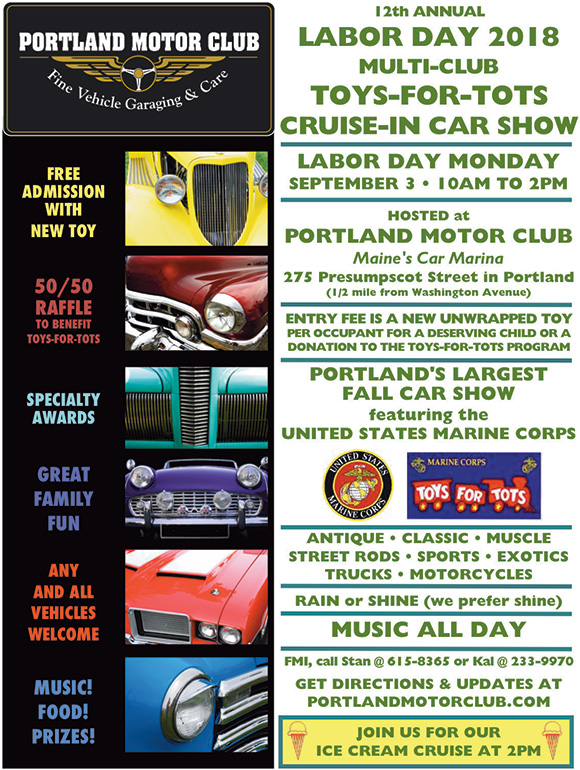 12th Annual Toys-for-Tots Labor Day Car Show Monday
